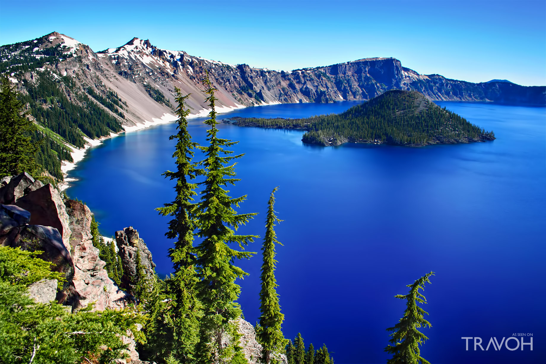 The Deep Blue Crater Lake in Oregon, USA