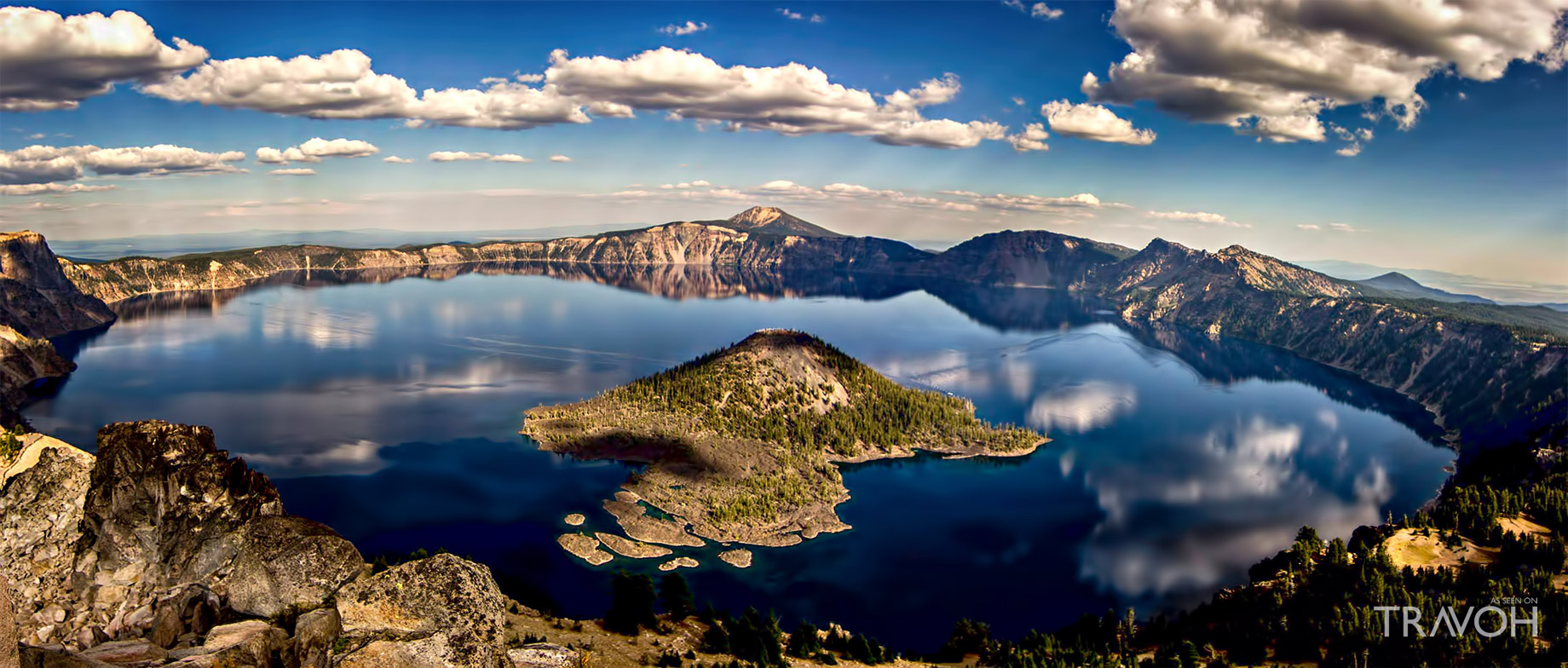 Aerial View Sunset from Crater Lake in Oregon, USA