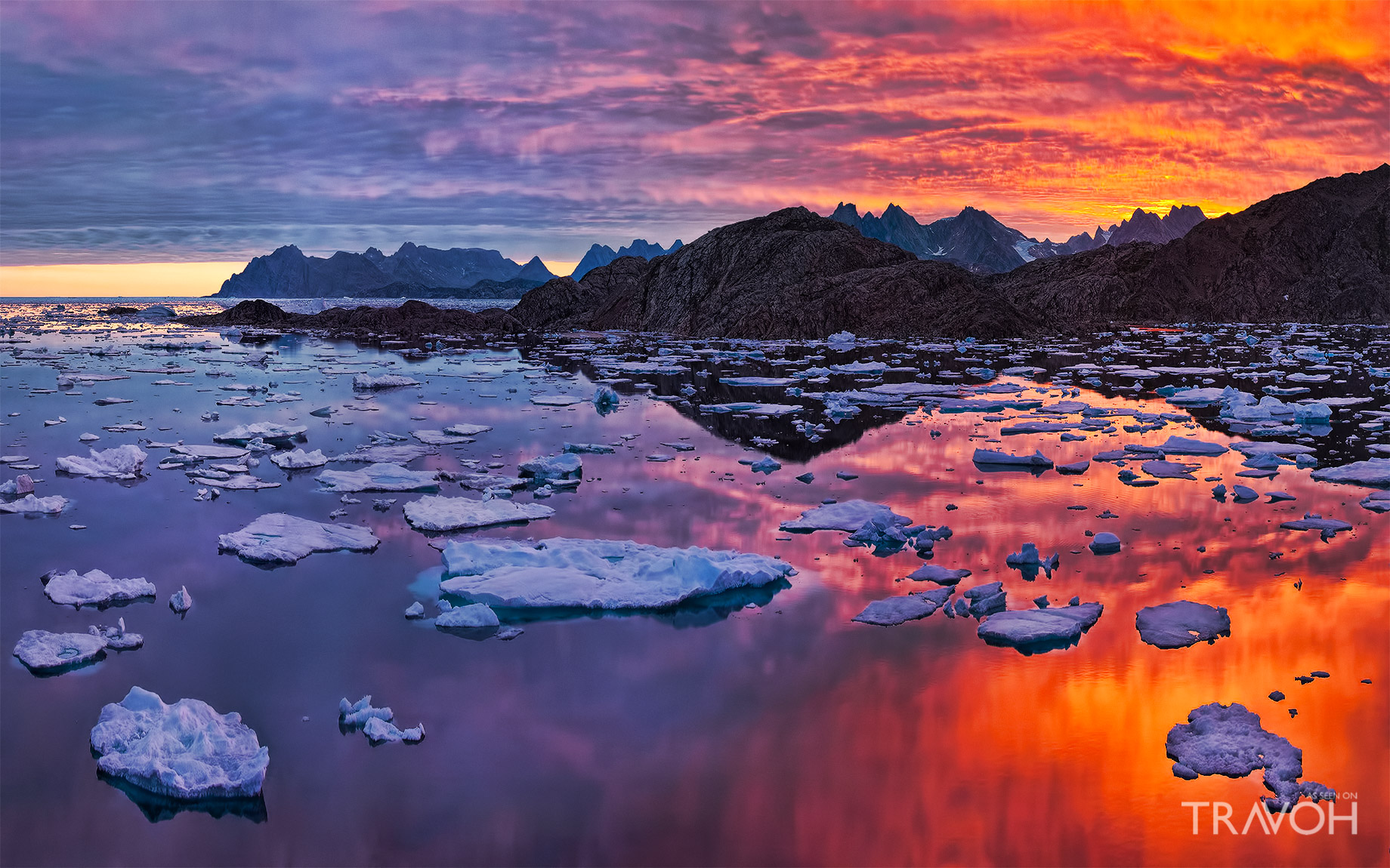 Arctic Sunset in Kulusuk, Sermersooq, Greenland at Torsuut Tunoq Sound over Angmagssalik Island