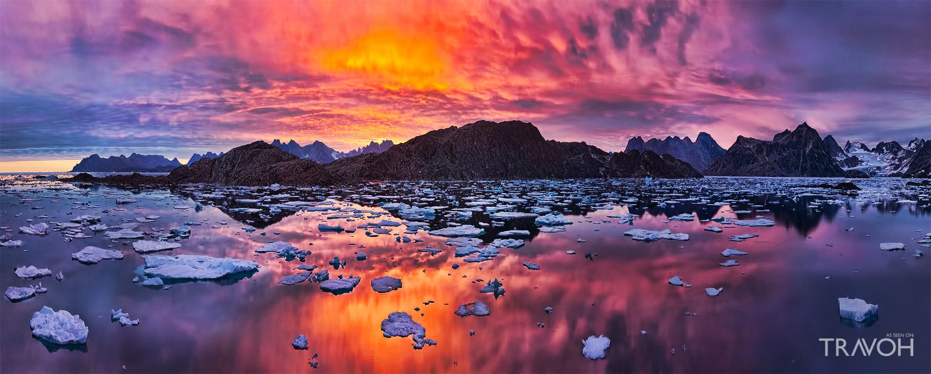 Arctic Icy Sunset - Angmagssalik Island - Torsuut Tunoq Sound - Kulusuk, Sermersooq, Greenland