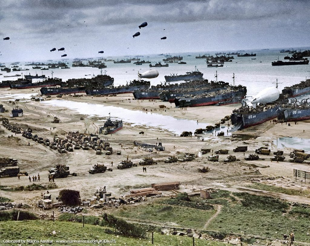 D-Day Normandy Beach Operation Overlord Landing Site During World War II on Tuesday, June 6, 1944