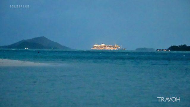 Cruise Ship - Lagoon Voyage by Night - Bora Bora, French Polynesia - 4K Travel Video