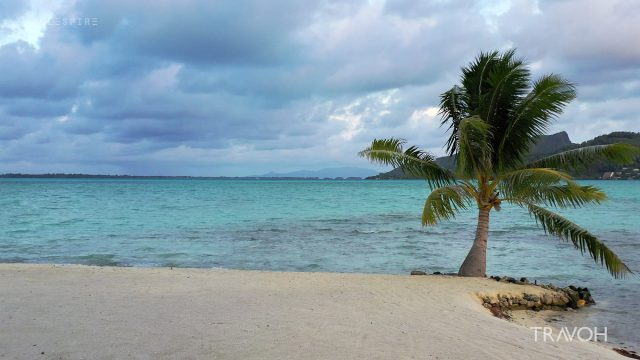Drone Flying Out To Sea - Motu Tane Island - Bora Bora, French Polynesia - 4K Travel Video