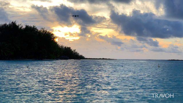 Drone Flying at Sunset - Blue Heaven Island - Motu Paahi - Bora Bora, French Polynesia - 4K Travel Video