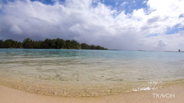 Gentle Lapping Waves, Ocean Beach, Calm Rain - Motu Tane - Bora Bora, French Polynesia - 4K Travel Video