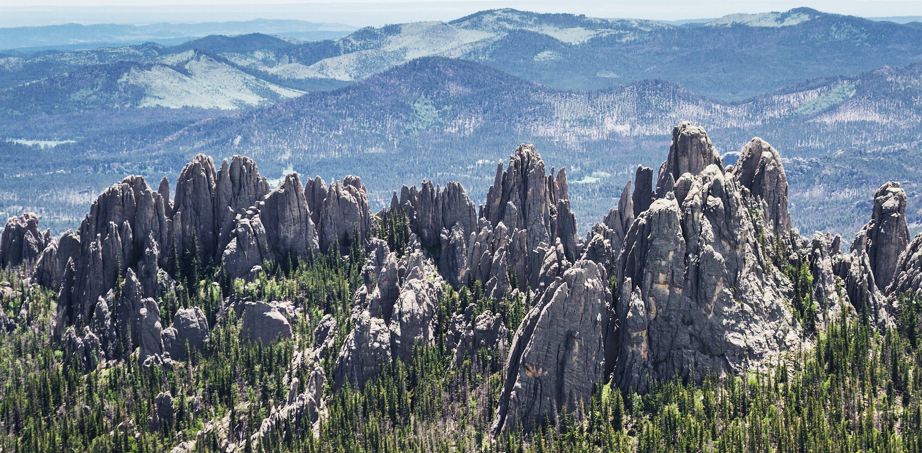 Aerial View - Granite Pinnacles - Black Hills, South Dakota, United States