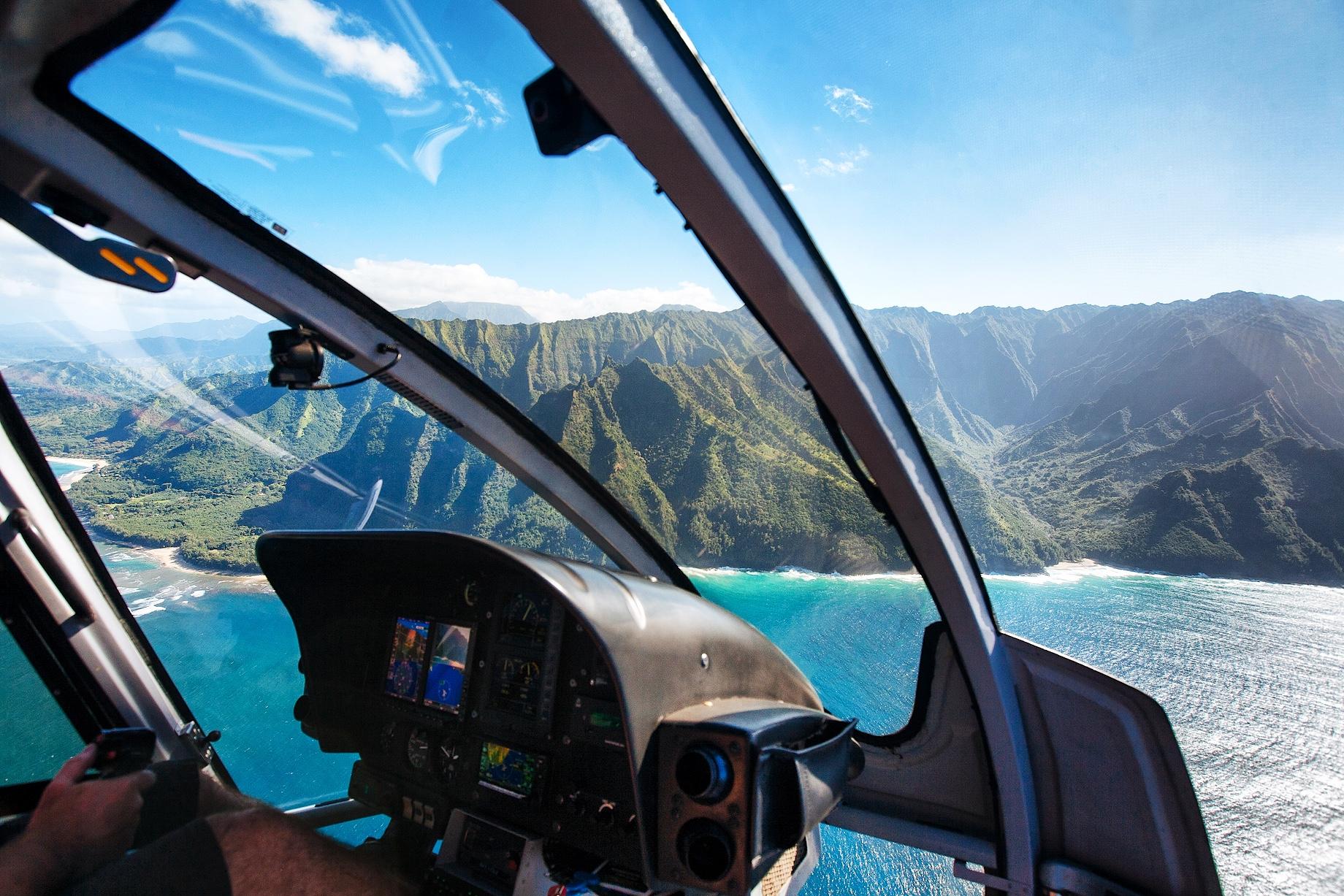 Helicopter Cockpit Scenic Flight - Na Pali Coast - Kauai, Hawaii, United States