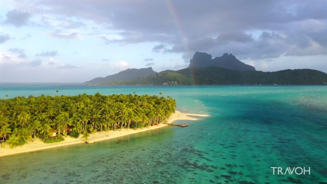 Peaceful South Pacific Drone Views - Motu Tane Island - Bora Bora, French Polynesia - 4K Travel Video